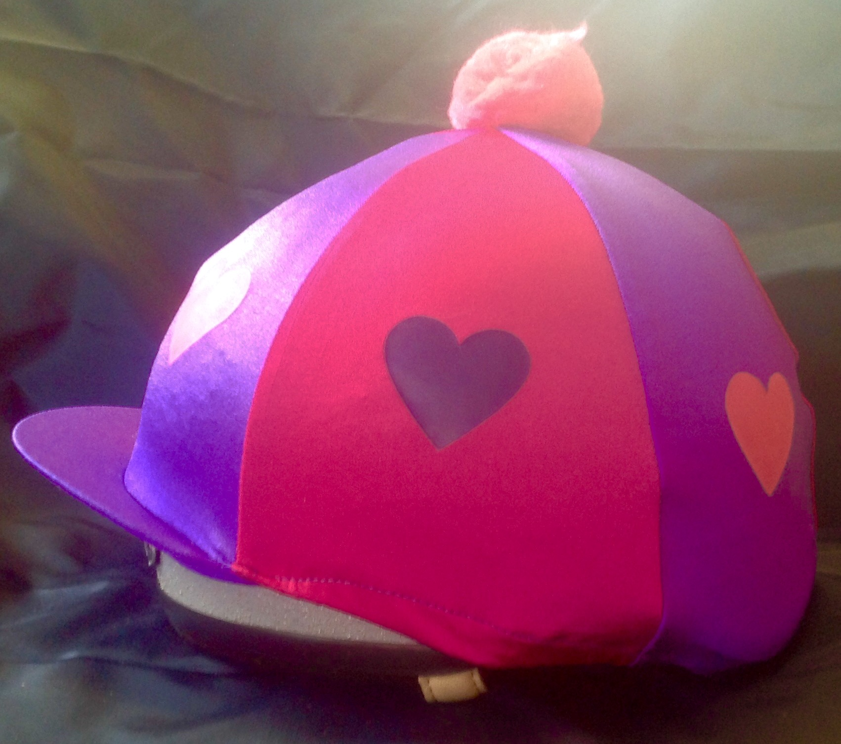 Lycra Hat Covers - Hearts with Pom Pom